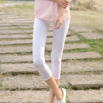 New Candy-colored cropped trousers in summer milk silk leggings Korean fashion pants