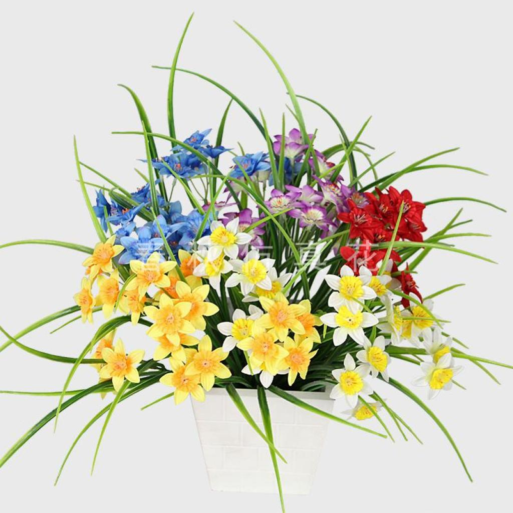 Supply Artificial Flower Six Forks Narcissus Daffodil Home Decor