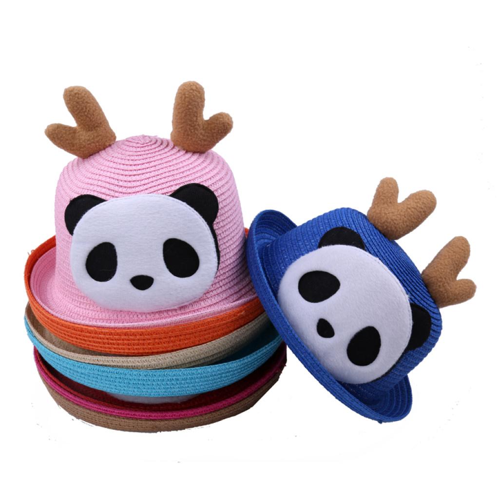 骆角熊猫帽子草编帽儿童帽可爱卡通草帽10