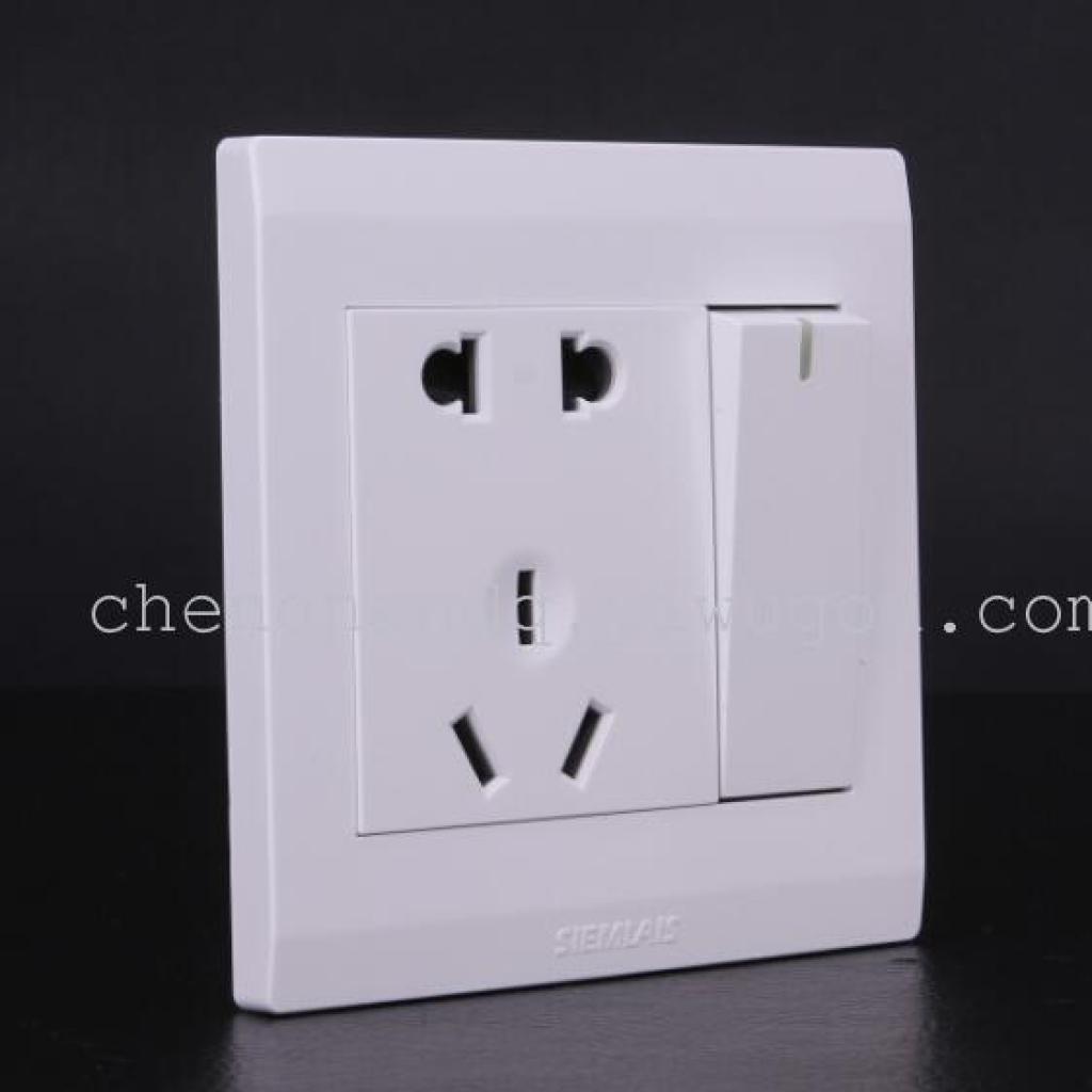 单开关带插座 一开带五孔 白色墙壁开关插座