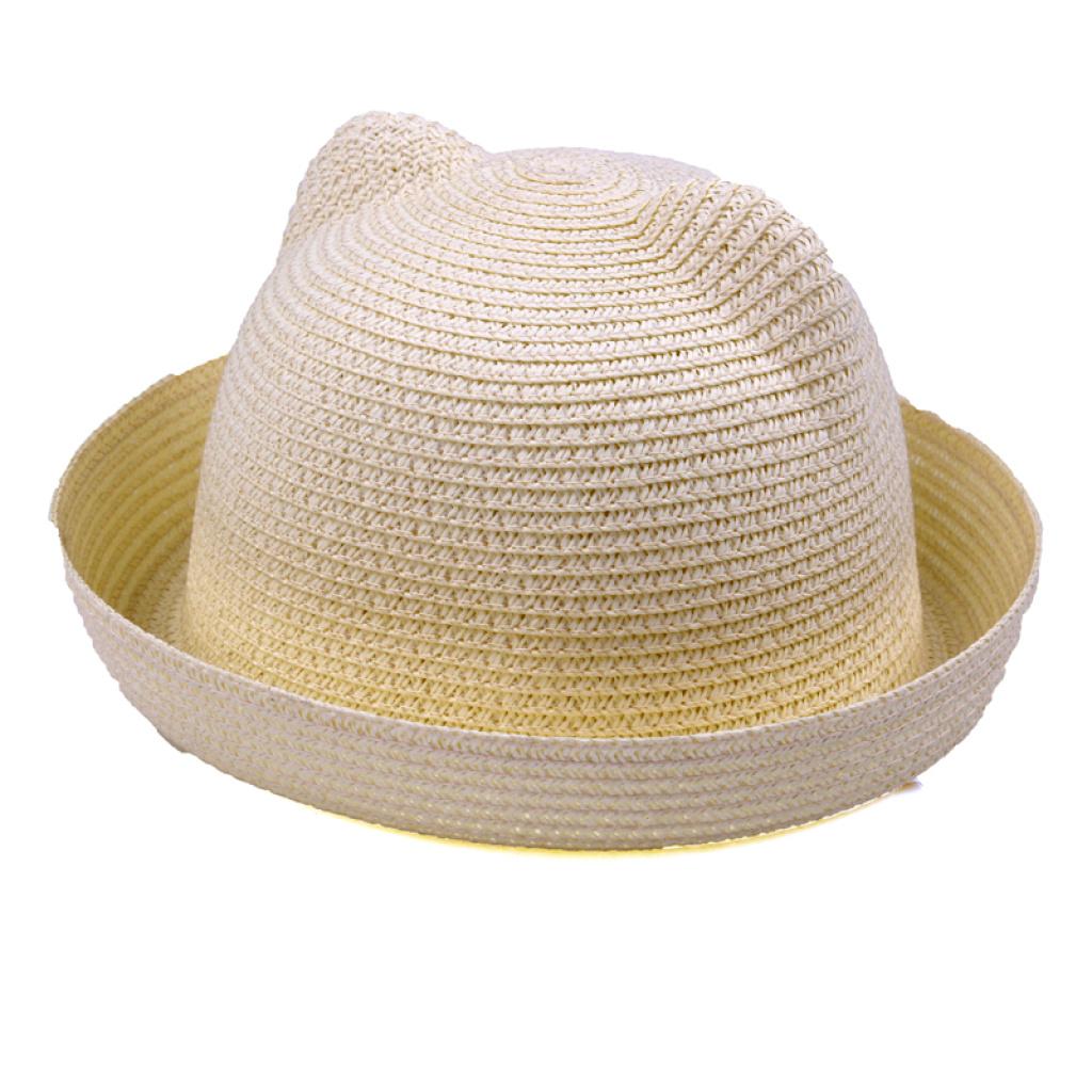 带角大小圆帽子草编帽太阳帽可爱卡通草帽09