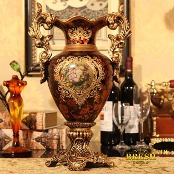 Continental premium vase retro technology ceramic vase ornaments home gifts, vases