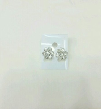 Korean full rhinestone flower stud earring delicate little woman flashing