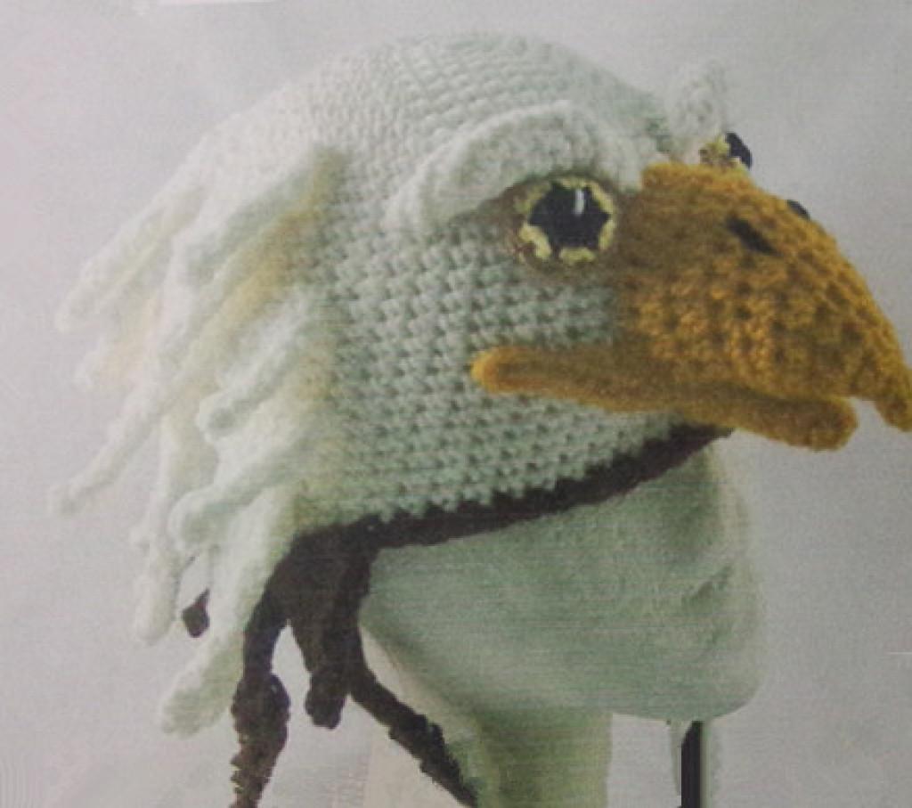 欧美卡通动物造型帽 白头海雕手工针织套头帽儿童帽子 外贸