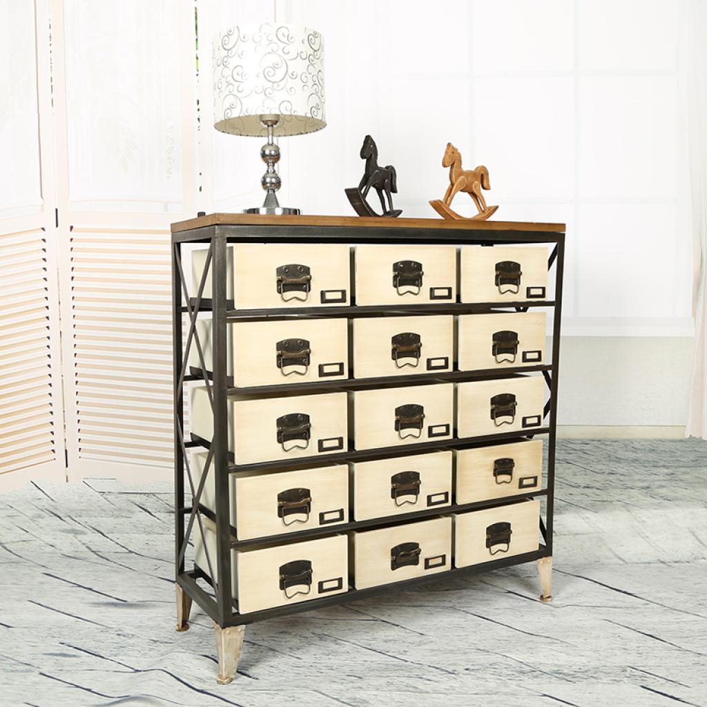 欧式古典风格15抽木制鞋柜/铁艺收纳柜/创意组合柜