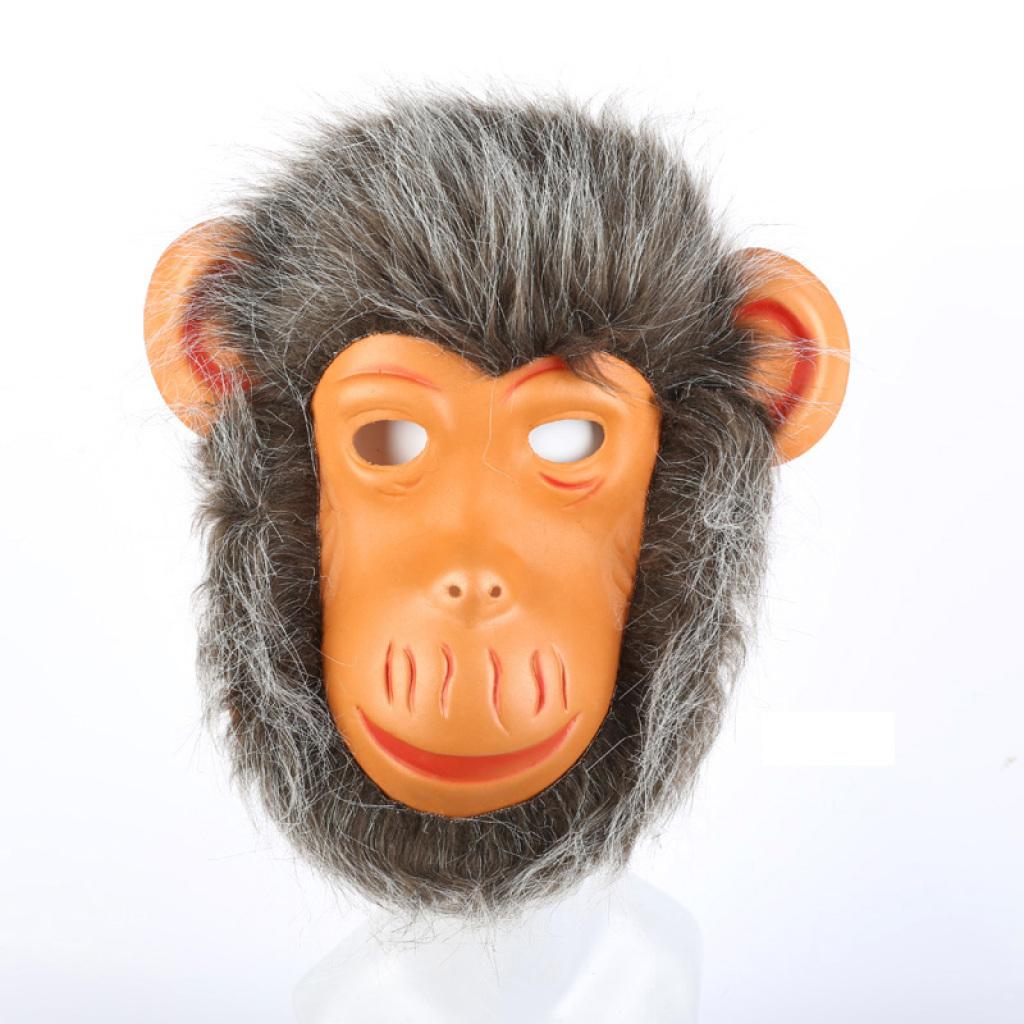 动物带毛面具老虎狮子猴子狼狗头面具节日用品化妆