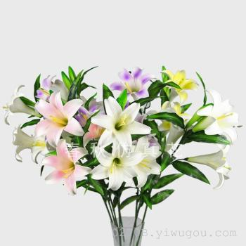Simulation of five perfume Lily home decor artificial flower corsage