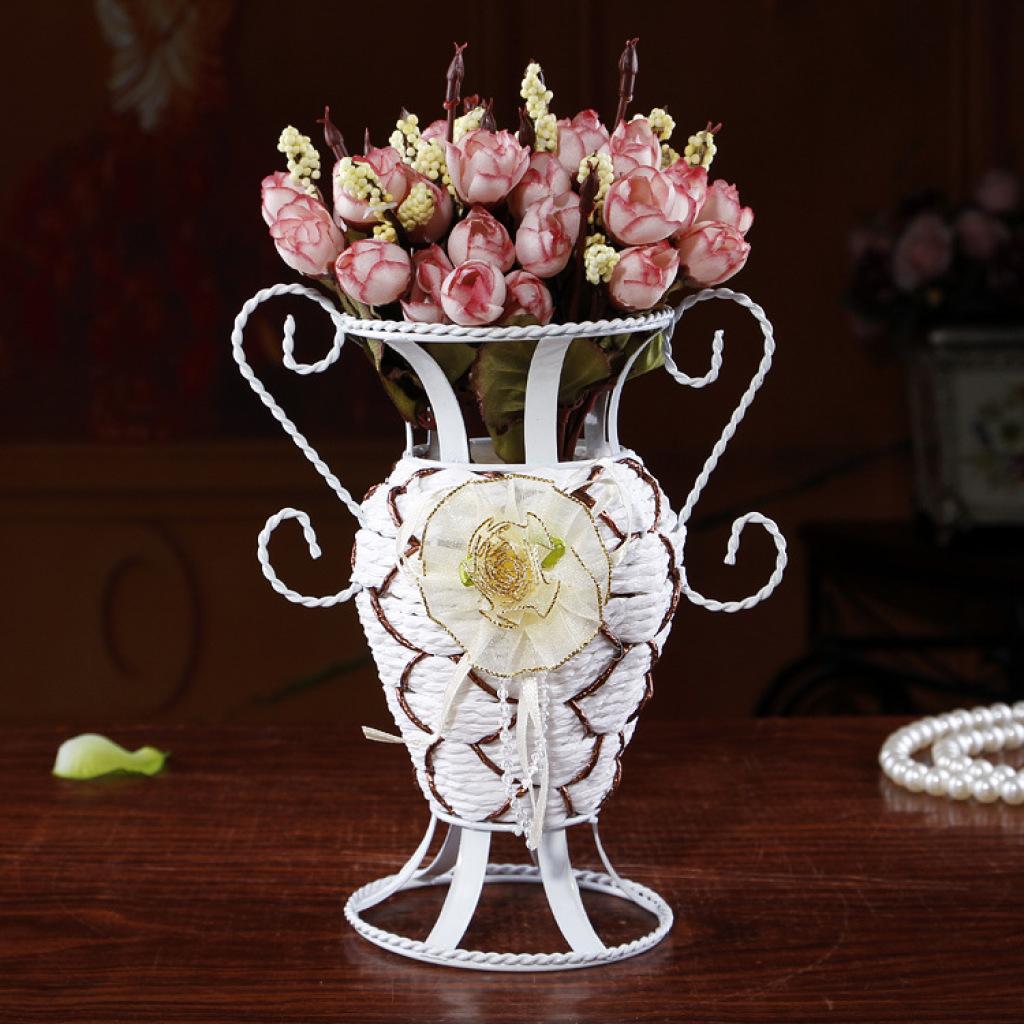 新奇特产品欧式编织铁艺花篮桌面装饰品插花se605