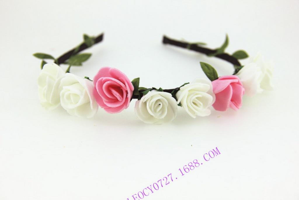 新款玫瑰公主系列 新娘头饰花环 海边拍照头环手环