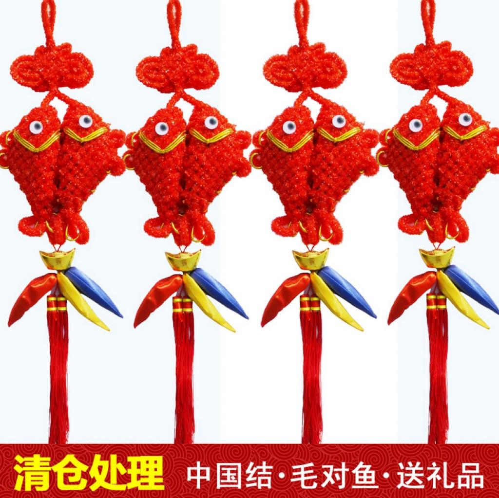 中国结春节 吉祥结鱼 金线鱼中国结 鱼结_山水结艺线