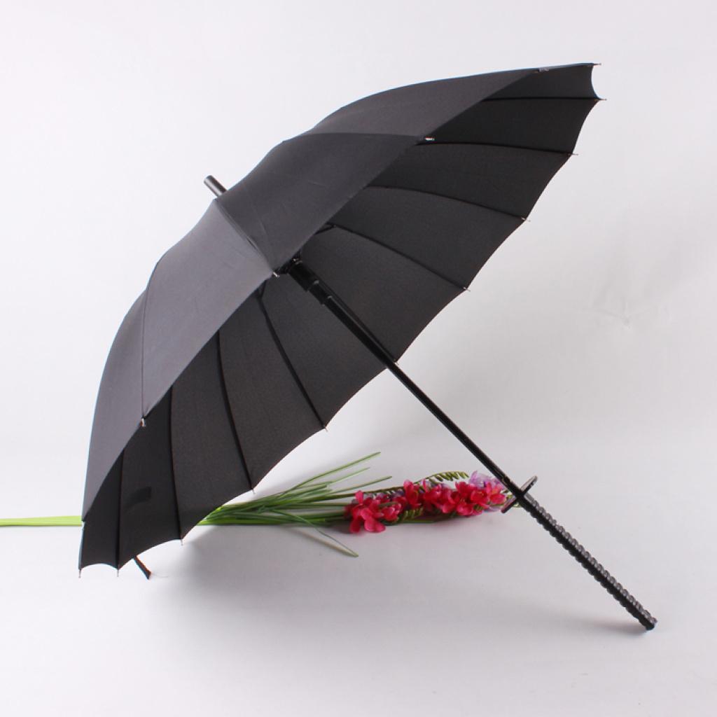 16骨武士刀柄雨伞超强防风黑色伞创意个性晴雨伞 武士