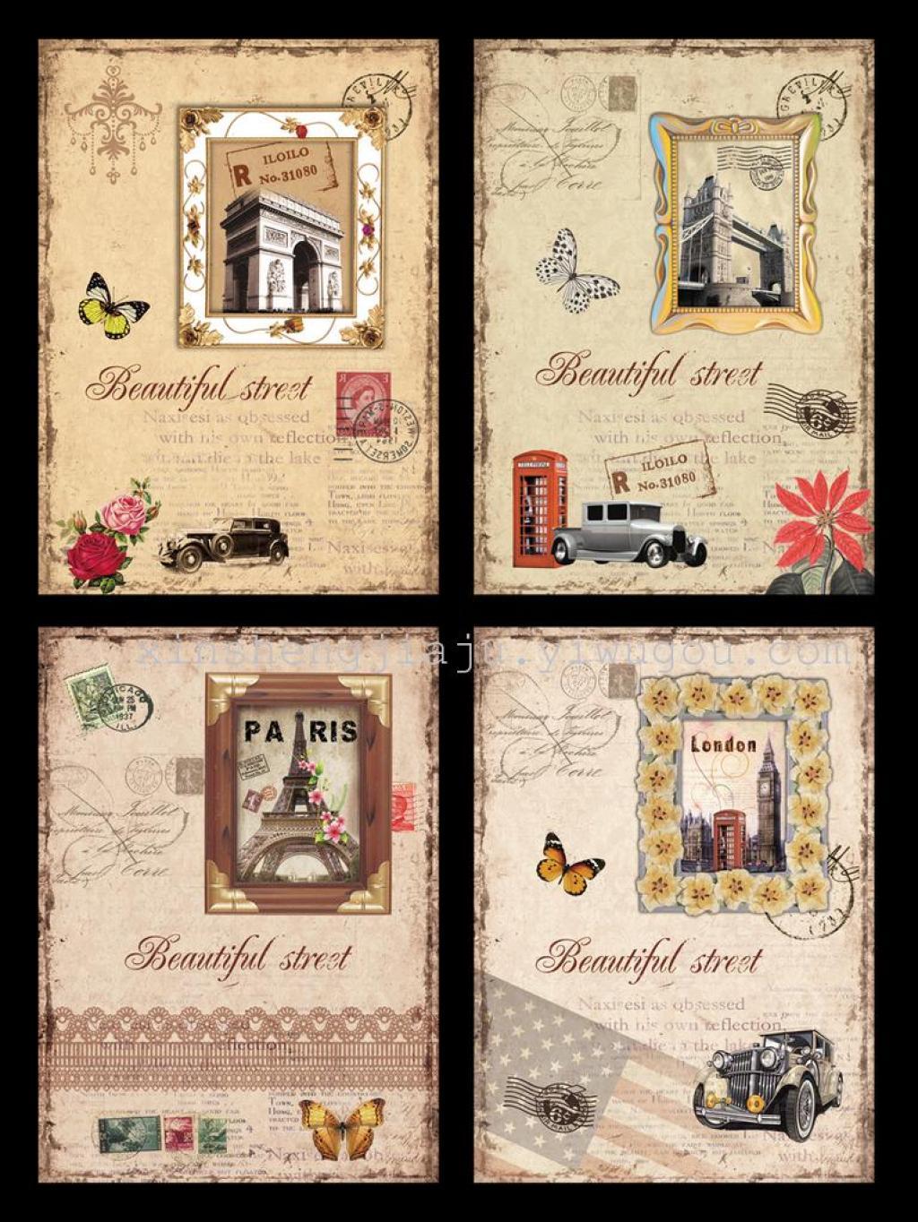 欧式人文景观图案装饰画/客厅工艺画/创意板画