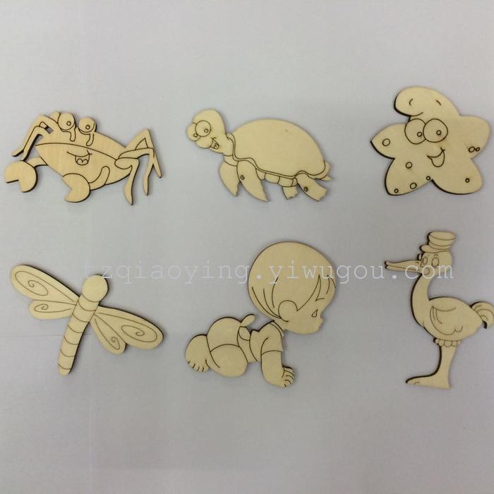 diy彩绘白胚木片木质幼儿学习教具彩绘动物木片_台州