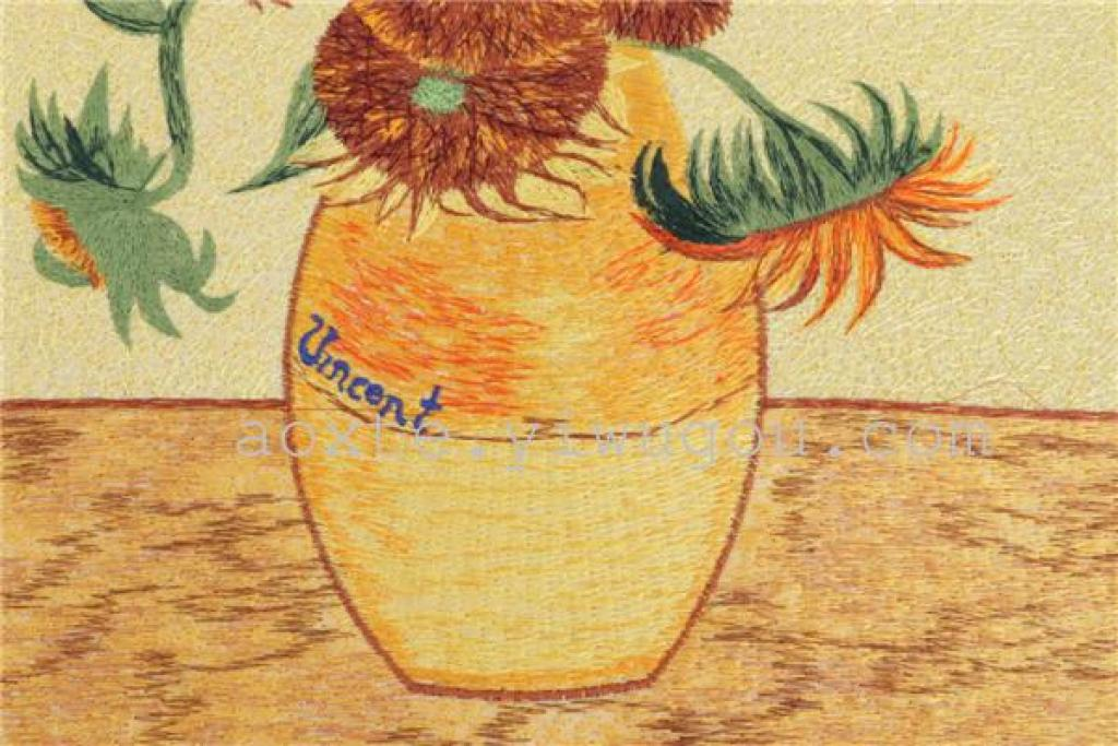 梵高向日葵电脑刺绣装饰画