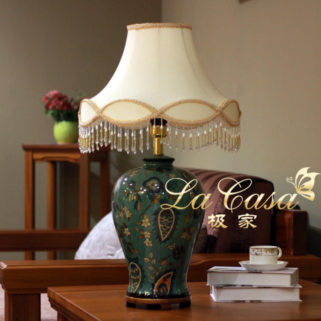 时尚手绘雅兰陶瓷台灯卧室床头客厅灯饰高档家居装饰工艺品台灯
