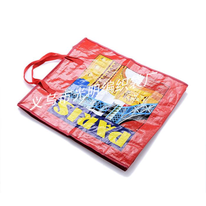 厂家直销巴黎铁塔 彩印复膜pp编织袋 行李袋 编织袋 收纳袋