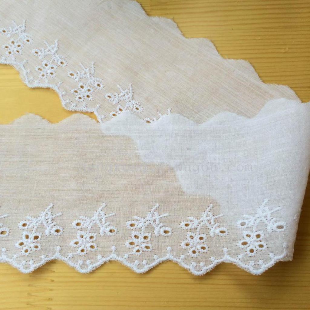 花边7cm 漂白一枝花 全棉布刺绣花边 服装辅料