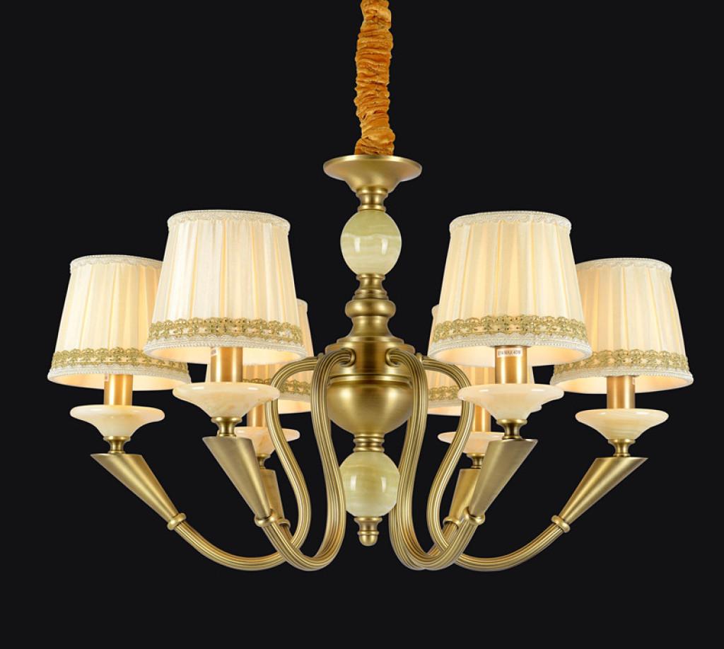 欧式吊灯 美式复古餐厅卧室吊灯 简欧客厅灯具大气仿云石铜吊灯