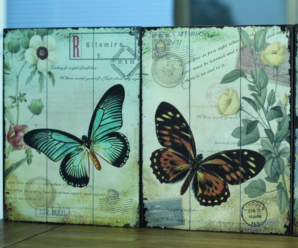 欧式复古仿旧木板画 装饰画