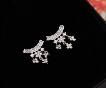 Exclusive customized manual micro-inserts pure rain short Stud Earrings women's earrings ear jewelry necklace