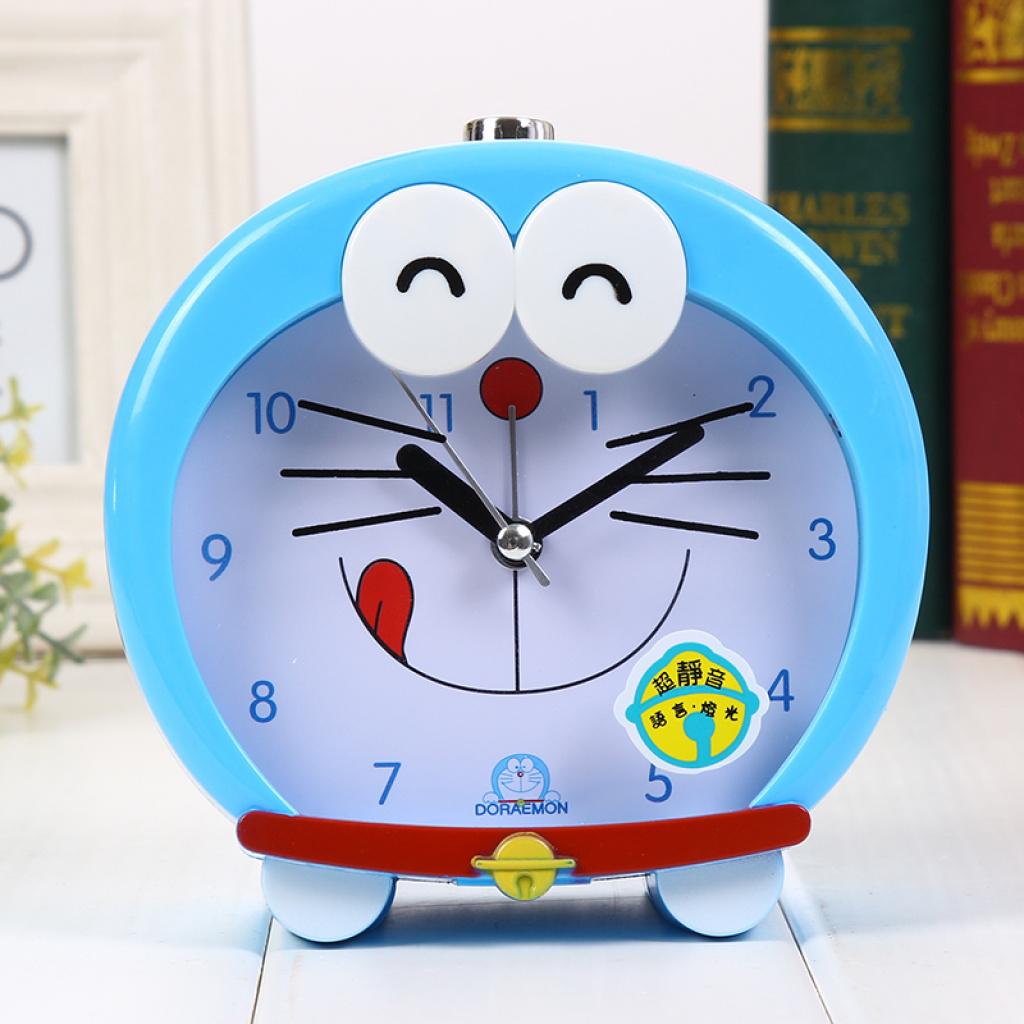 卡通叮当猫创意可爱机器猫夜灯闹钟会说话双音儿童