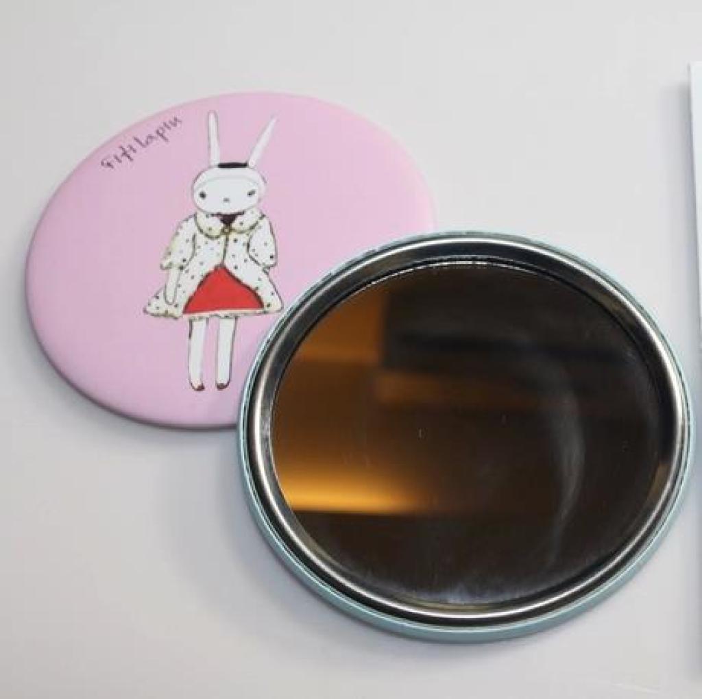 小清新创意卡通圆形便携式小巧镜子美容补妆镜