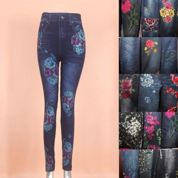 Seamless knitted fashion imitation jeans printed leggings and fertilizer to increase women's trousers
