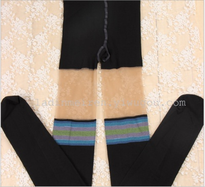 Spliced spliced long panty stockings striped knee high tube pantyhose