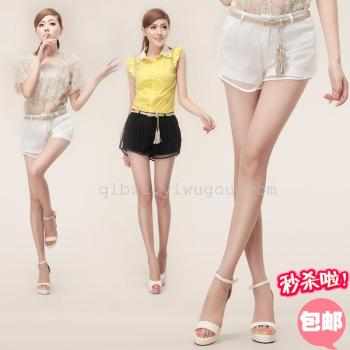 Giant cheap Korean version of new mesh shorts 3-layer solid-colored Culottes cool mesh shorts