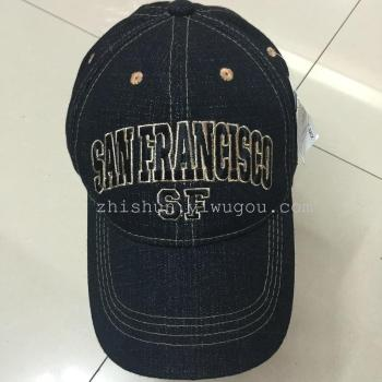 Black denim jeans SF embroidered baseball cap