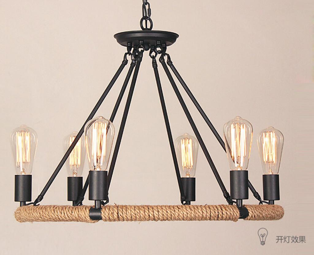 怀旧复古创意美式吊灯麻绳卧室餐厅书房灯具蚕丝长泡图片