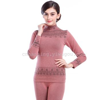 Add modal Turtleneck two-tone cashmere thick thermal underwear set H1584