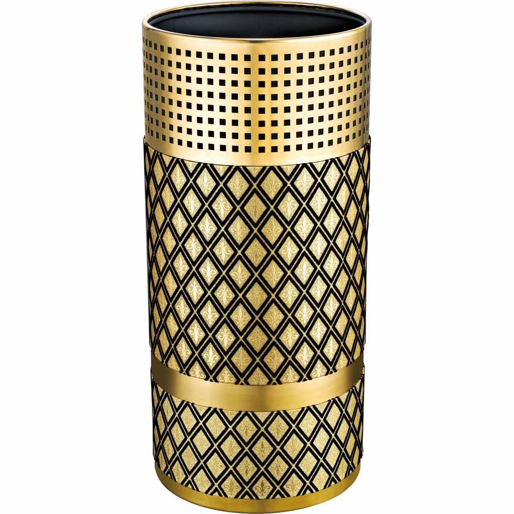圆形垃圾桶(金色菱形)