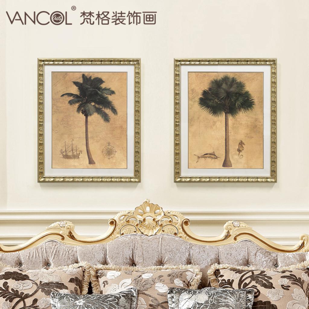 客厅装饰画美式壁画欧式玄关挂画花卉电视背景