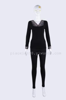 Modal black women's thermal underwear shirt warm coat