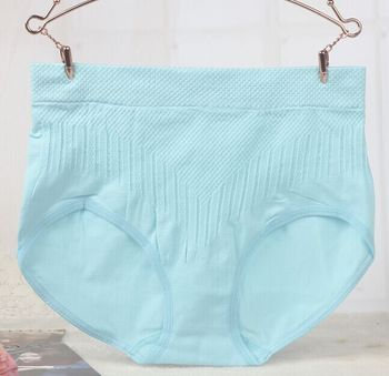 Ladies seamless sexy belly in one solid color cotton briefs