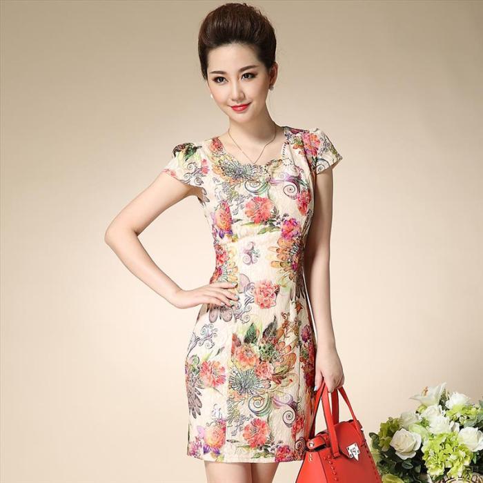新款蕾丝旗袍裙 韩版女装复古优雅气质花色短袖连衣裙