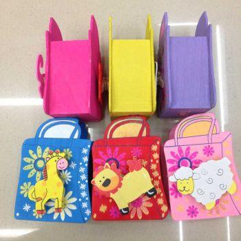 立雪儿童节礼物 韩国文具 小动物卡通带夹笔筒 木制笔筒510