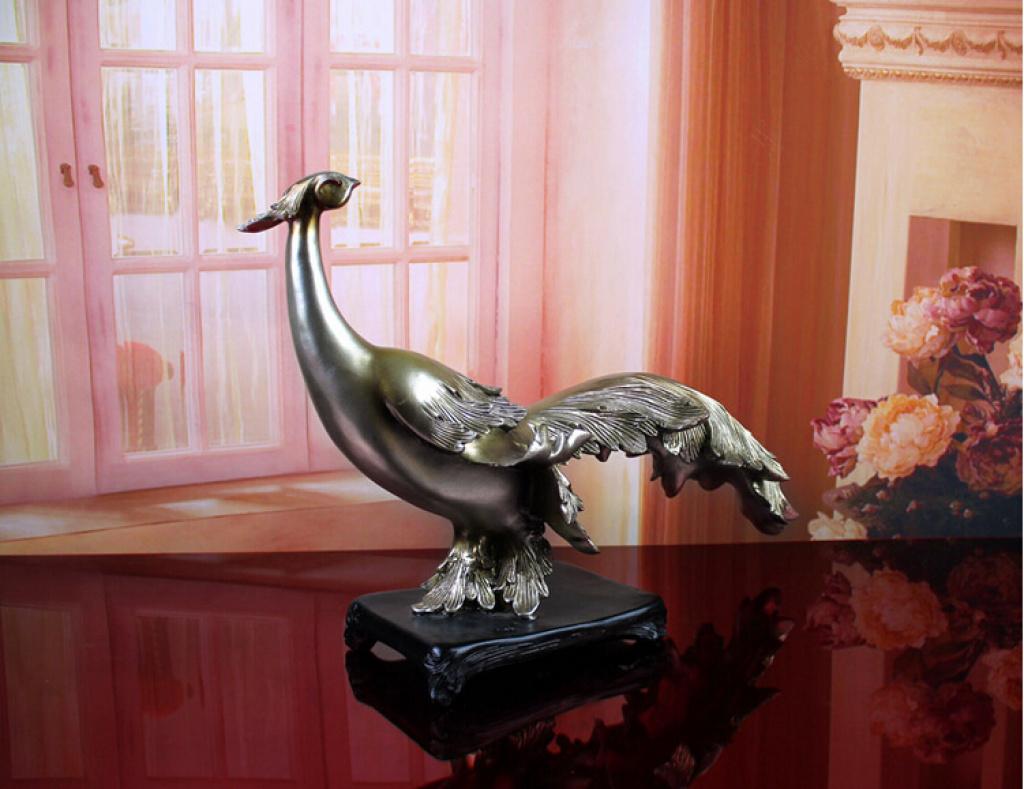 欧式树脂抽象软装饰品创意孔雀玄关桌摆饰