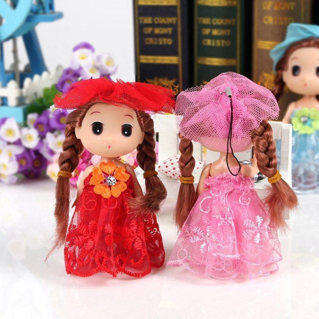 批发环保迷糊娃娃芭比娃娃手机包包花束装饰钥匙扣挂件
