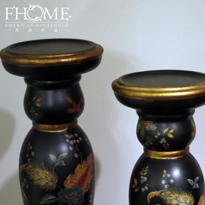 Craft garden auspicious floral hand-painted porcelain candle holder decoration home decoration ornament gift boutique
