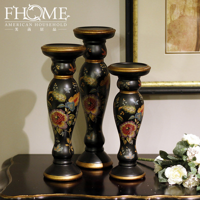 Craft garden auspicious floral hand-painted porcelain candle holder decoration home decoration ornament gift boutique