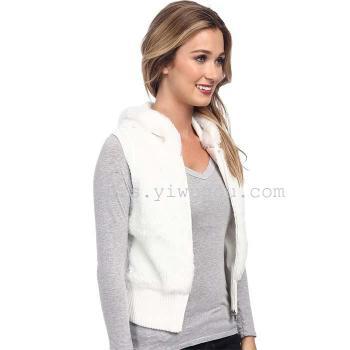 White rabbit fur vest Law Hau waist faux fur coat stand collar zipper vest