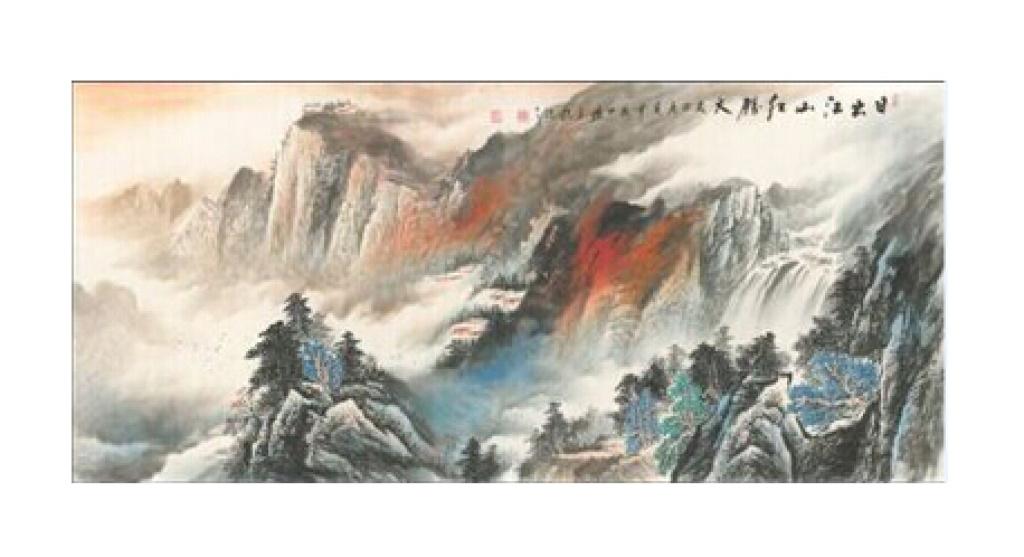 新中式 现代 山水画 挂画 家装 酒店 个性墙纸图片