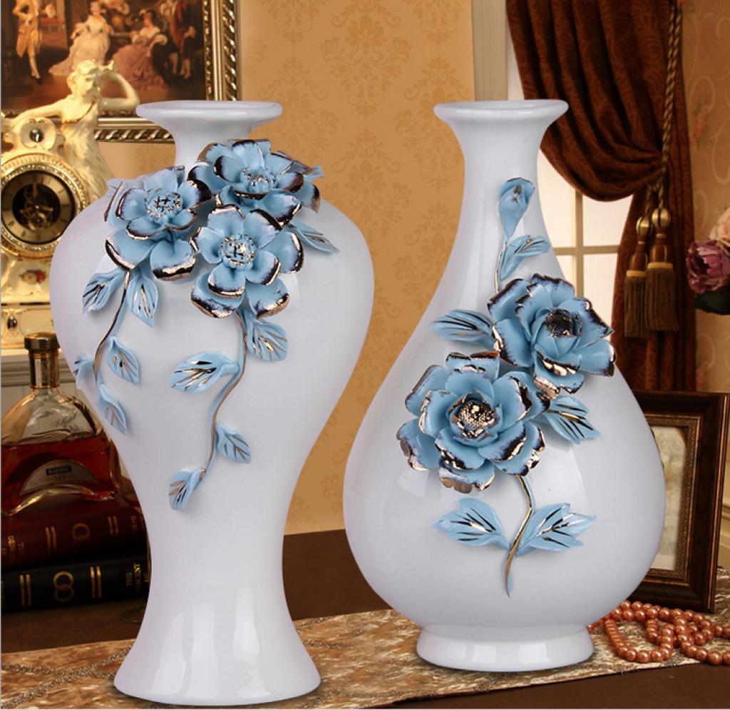 欧式家居工艺陶瓷花瓶 客厅装饰摆件 创意软装配饰