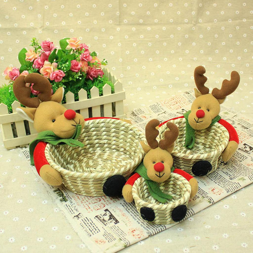 圣诞礼品收纳筐 手工编织杂物筐 卡通驯鹿置物篮