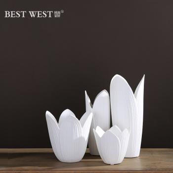 Modern ceramic white living room size vase vases home decoration ornaments set of three porcelain vases
