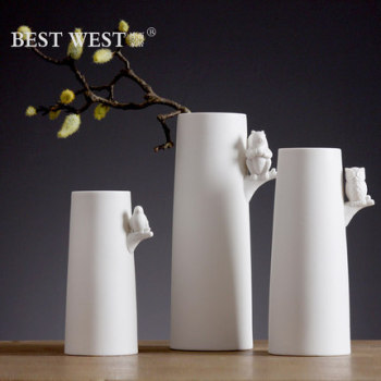 White minimalist creative ceramic vases flower vase decoration decorative bottle table TV cabinet three packages-mail