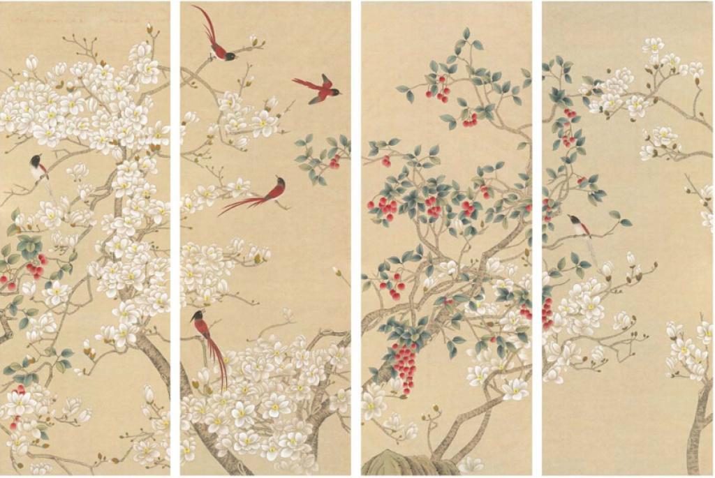 新中式花鸟壁纸贴图