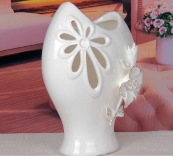 纯手工白瓷描金工艺装饰摆件 欧式迷你家居陶瓷小花瓶